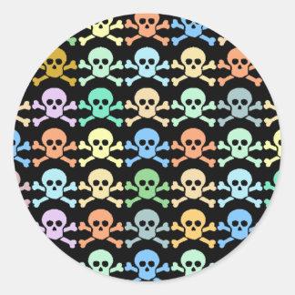 pirate colored skulls classic round sticker