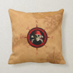 Pirate Compass Rose And Map Pillow