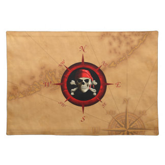 Pirate Compass Rose And Map Placemats