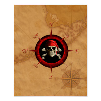 Pirate Compass Rose And Map Poster