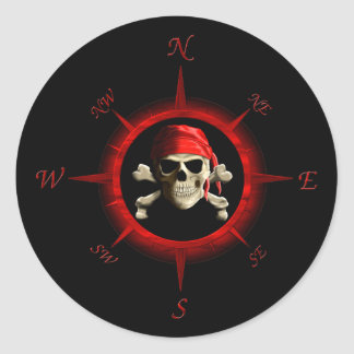 Pirate Compass Rose Classic Round Sticker