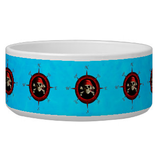 Pirate Compass Rose Dog Water Bowls