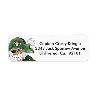 Pirate Cptn Crusty Kringle Return Address Label