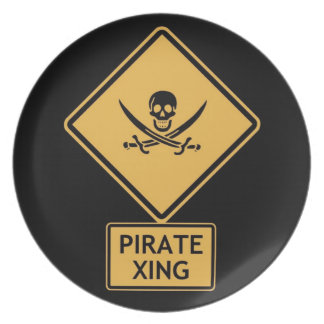 pirate crossing party plate