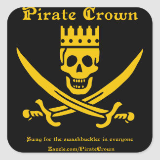 Pirate Crown Logo square sticker - pack of 20
