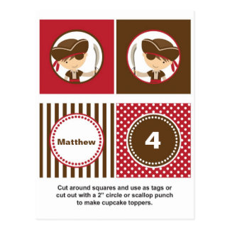 Pirate Cupcake Toppers Post Card