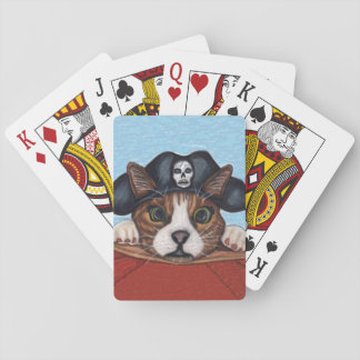 Pirate Cute Surprised Brown Striped Cat Playing Cards