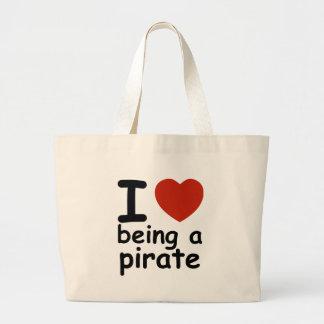 pirate design large tote bag