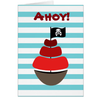 Pirate design with striped background card