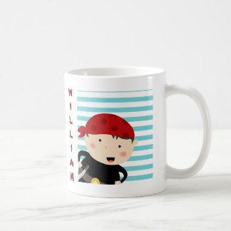 Pirate design with striped background coffee mug