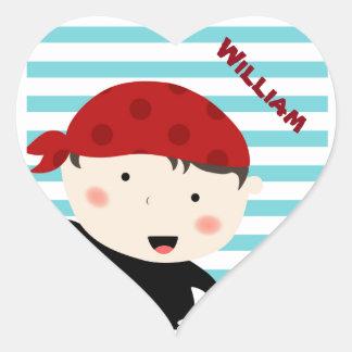 Pirate design with striped background heart sticker