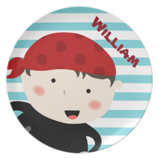 Pirate design with striped background melamine plate