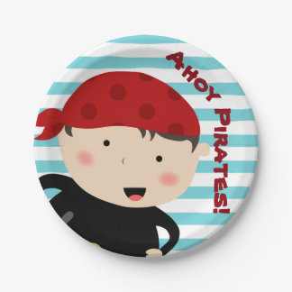 Pirate design with striped background paper plate