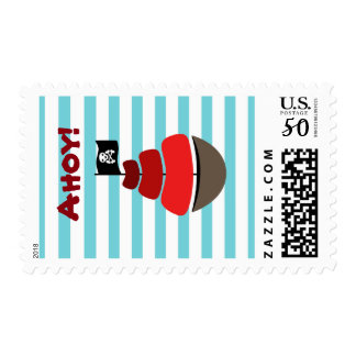 Pirate design with striped background postage