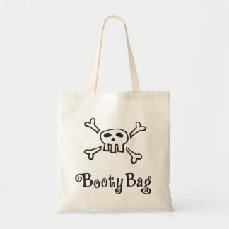 """Pirate diaper bag with text """"Booty Bag"""" and scull"""