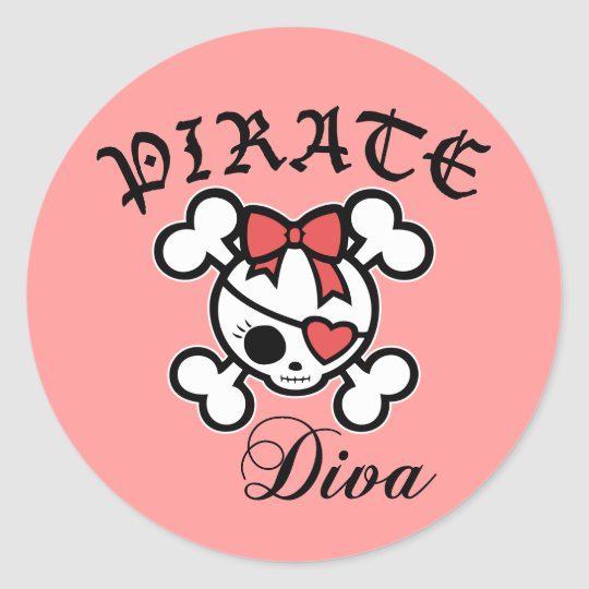 Pirate Diva Classic Round Sticker