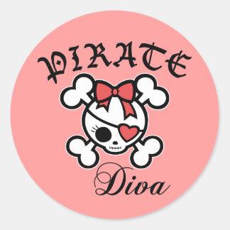 Pirate Diva Round Sticker