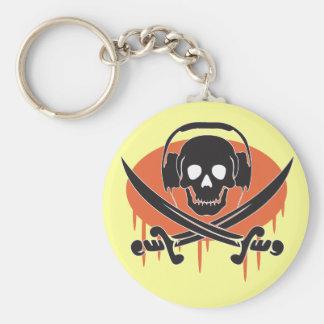Pirate DJ Basic Round Button Keychain