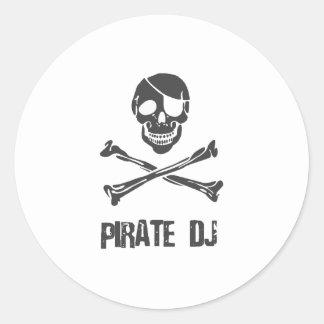 Pirate DJ - Disc Jockey Music Theif Round Sticker