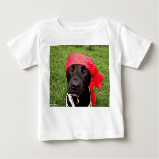 Pirate dog, black lab, red hankerchief green grass baby T-Shirt