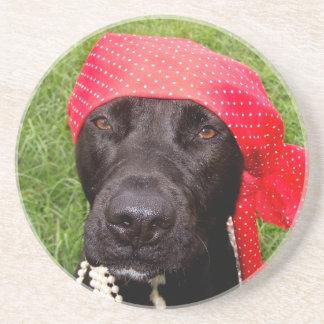 Pirate dog, black lab, red hankerchief green grass beverage coaster