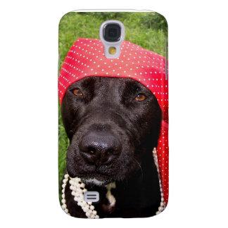 Pirate dog, black lab, red hankerchief green grass galaxy s4 case