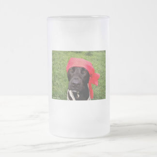 Pirate dog, black lab, red hankerchief green grass 16 oz frosted glass beer mug