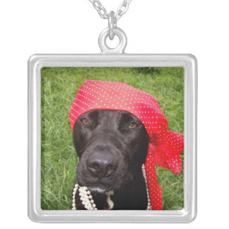 Pirate dog, black lab, red hankerchief green grass pendants