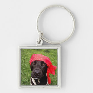 Pirate dog, black lab, red hankerchief green grass Silver-Colored square keychain