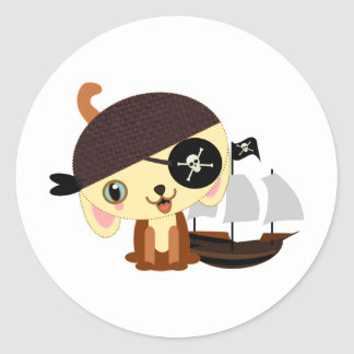 pirate dog kawaii classic round sticker