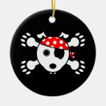 Pirate Dog Double-Sided Ceramic Round Christmas Ornament