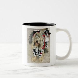 pirate dogs Two-Tone coffee mug