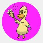 Pirate Duck Round Stickers