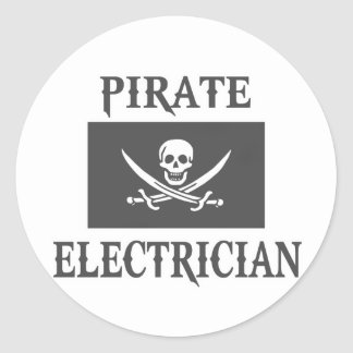 Pirate Electrician Classic Round Sticker