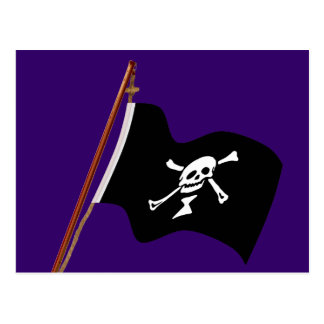 Pirate Emanuel Wynne Jolly Roger Flag Hoist Postcard