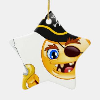 pirate emoji ceramic ornament