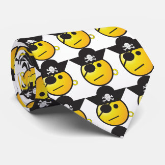 Pirate emoticon. Yellow and black Neck Tie