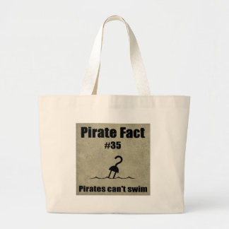 Pirate Fact #35 Pirates can't swim Large Tote Bag