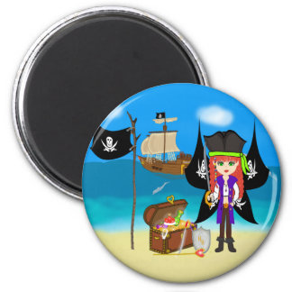 Pirate Faery with Ship and Treasure Magnet Fridge Magnets