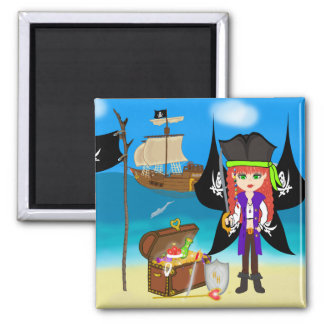 Pirate Faery with Ship and Treasure Magnet Refrigerator Magnets
