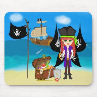 Pirate Faery with Ship and Treasure Mousepad