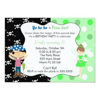 Pirate Fairy Birthday Invitation Lime Green Skulls