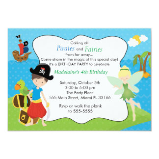 Pirate Fairy Pixie Kids Birthday Party 5x7 Paper Invitation Card