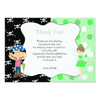 Pirate Fairy Thank You Card Kids Birthday Lime