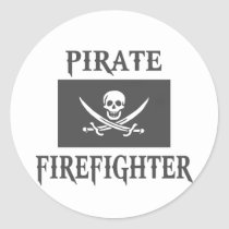 Pirate Firefighter Classic Round Sticker