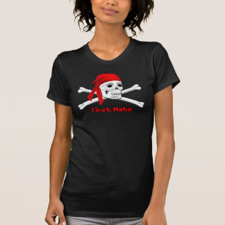 Pirate First Mate Skull and Bones Ladies T-shirt