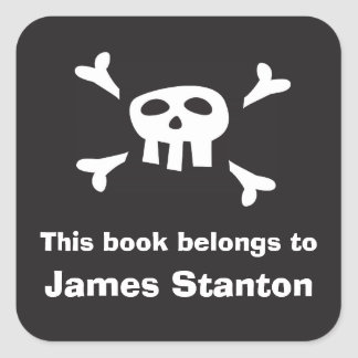 Pirate flag bookplate sticker/book label for boys