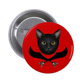 Pirate Flag Cat Button