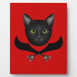 Pirate Flag Cat Photo Plaque