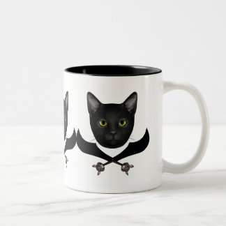 Pirate Flag Cat Two-Tone Coffee Mug